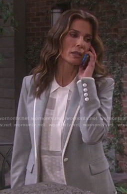 Hope's white collared top and grey blazer on Days of our Lives