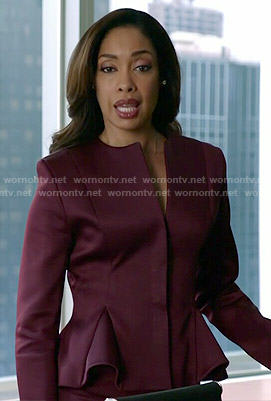 Jessica's burgundy peplum jacket on Suits