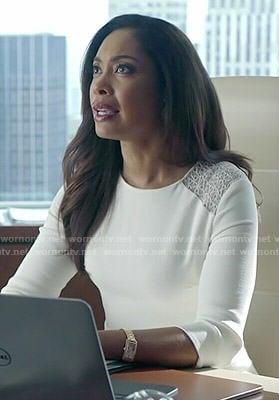Jessica's white lace shoulder dress on Suits