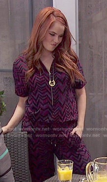Jessie's purple chevron print jumpsuit on Jessie