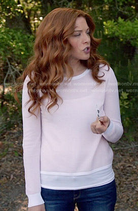 Julia's pink long sleeved top with split back on Under the Dome