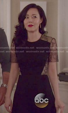 Karen's black lace-back dress on Mistresses