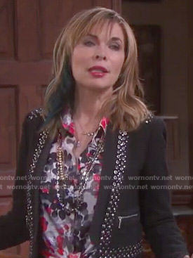 Kate's studded trim jacket and printed blouse on Days of our Lives