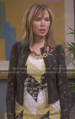 Kate's yellow geometric patterned dress and sheer floral jacket on Days of our Lives