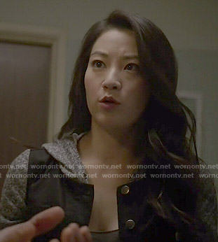 Kira's black hooded denim jacket on Teen Wolf