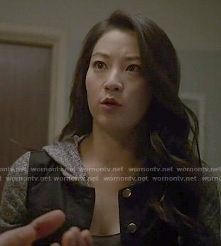 Kira's black hooded denim jacket on Teen Wolf
