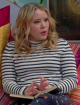 Lennox's striped sweater and moth print pants on Melissa and Joey