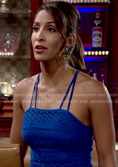 Lily's blue eyelet peplum top on The Young and the Restless