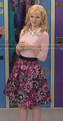 Liv's pink floral skirt and sweater with embellished collar on Liv and Maddie