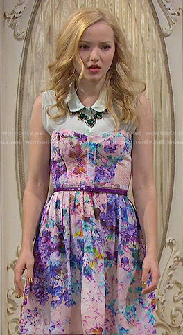 Liv's floral strapless dress on Liv and Maddie