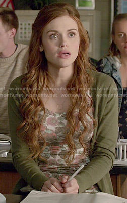 Lydia's floral top and green cardigan on Teen Wolf