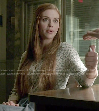 Lydia's geometric patterned cardigan and chambray skirt on Teen Wolf