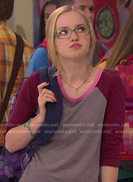 Maddie's grey tee with red sleeves on Liv and Maddie
