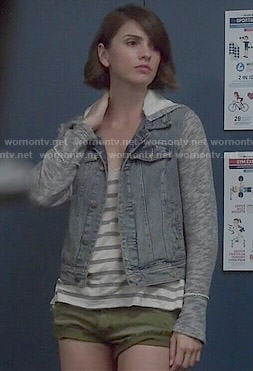 Malia's denim jacket, striped tank top and green shorts on Teen Wolf