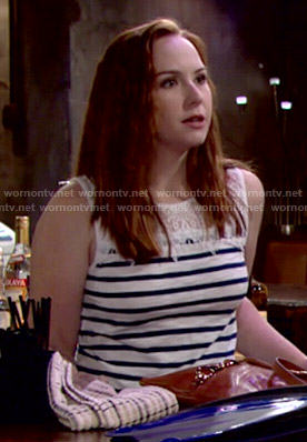 Mariah's stripe and lace top on The Young and the Restless