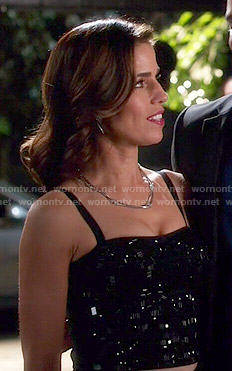 Marisol's black beaded top on Devious Maids