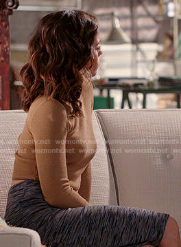 Marisol's camel cropped sweater and textured print skirt on Devious Maids