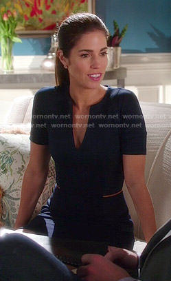 Marisol's navy blue peplum dress on Devious Maids