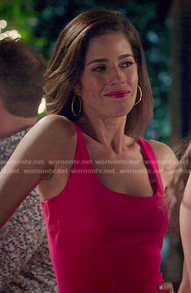 Marisol's solid red dress on Devious Maids