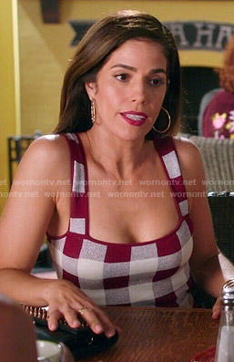 Marisol's red gingham checked dress on Devious Maids
