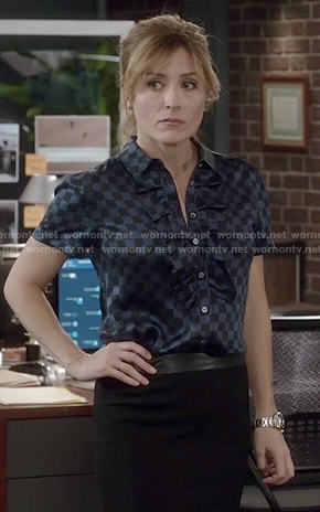Maura's blue checked ruffled top on Rizzoli and Isles