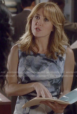 Maura's blue floral watercolor print dress on Rizzoli and Isles
