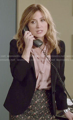 Maura's pink pleated tie-neck blouse on Rizzoli and Isles