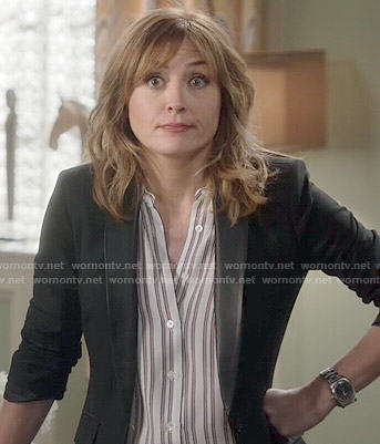Maura's striped shirt and leather collar blazer on Rizzoli and Isles