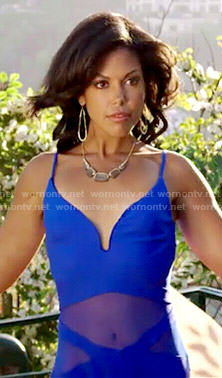 Maya's blue mesh panel swimsuit on The Bold and the Beautiful