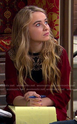 Maya's red crochet panel dress on Girl Meets World
