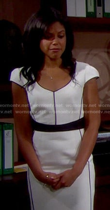 Maya's white dress with black piping on The Bold and the Beautiful