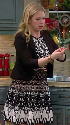 Mel's black, white and brown patterned dress on Melissa and Joey
