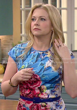 Mel's floral and feather print dress on Melissa and Joey