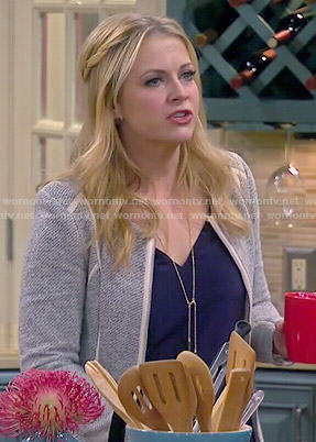 Mel's grey jacket with white trim on Melissa and Joey