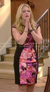 Mel's pink and black printed dress on Melissa and Joey