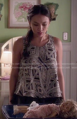 Mona's printed top on Pretty Little Liars