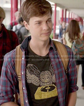 Noah's owl / record player tee on Scream