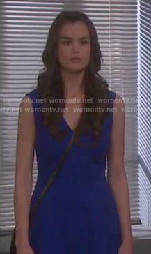 Paige's blue v-neck dress on Days of our Lives