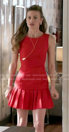 Paige's red pleated drop waist dress on Royal Pains