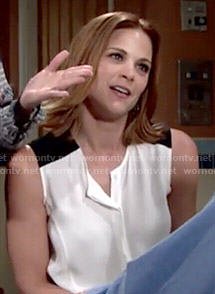 Phyllis's white top with black shoulders on The Young and the Restless