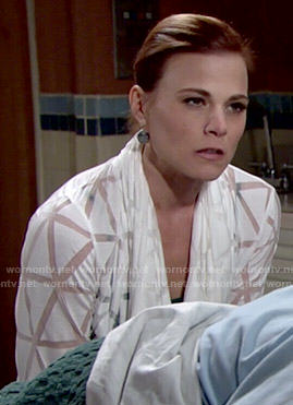 Phyllis's white cardigan with sheer triangle pattern on The Young and the Restless