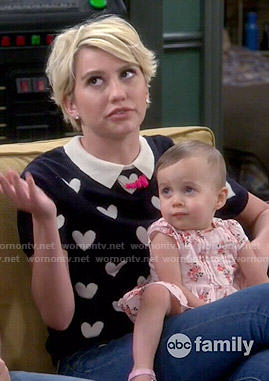 Riley's collared heart print sweater on Baby Daddy