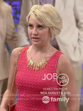Riley's coral textured dress on Baby Daddy