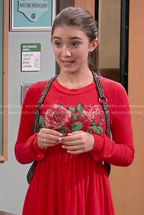 Riley's red rose print dress and studded harness on Girl Meets World