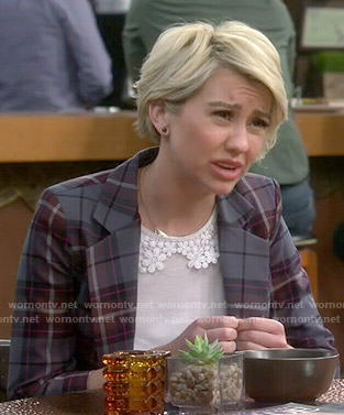 Riley's white crochet collar top and plaid blazer on Baby Daddy