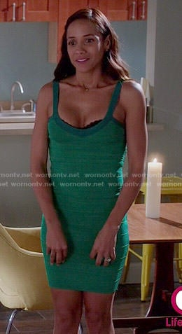 Rosie's green bandage dress on Devious Maids