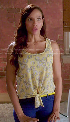 Rosie's yellow daisy print tie-front tank top on Devious Maids