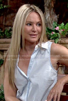 Sharon's blue sleeveless shirt with white collar on The Young and the Restless