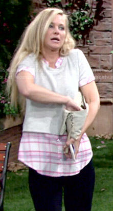 Sharon's plaid shirt and sweater on The Young and the Restless