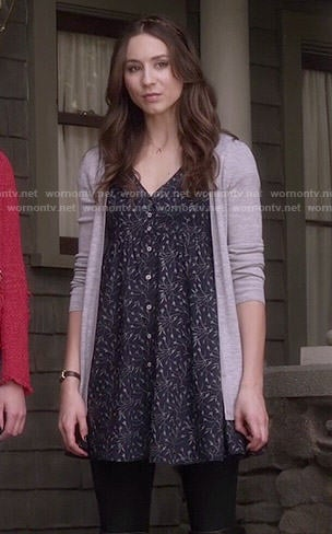 Spencer's blue floral button front dress on Pretty Little Liars